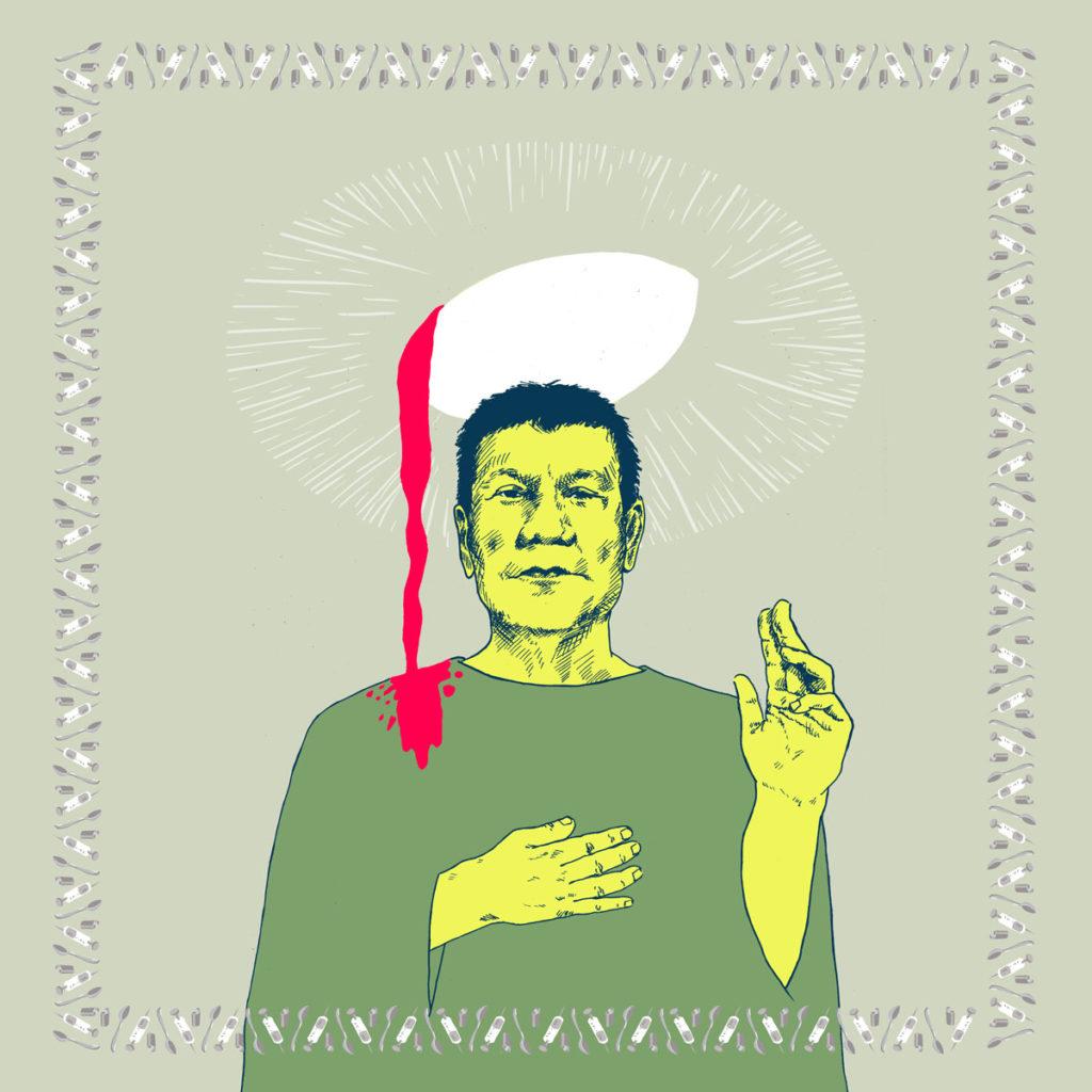 Portrait du président Philippin en référence à tous les meurtres commis sous prétexte de la guerre au narcotrafic