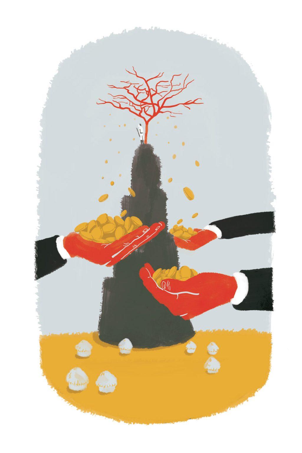 Illustration traitant de l'exploitation de la gomme arabique pour un recueil de l'Esprit Libre